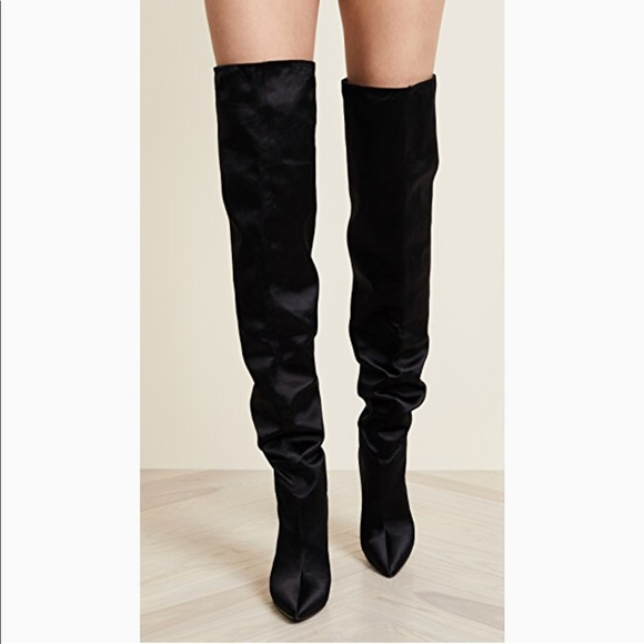 d3b6848f770 Kendall   Kylie Shoes - Kendall   Kylie Over Knee Boots Black Satin Heels